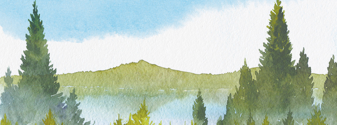 Watercolour Northern landscape
